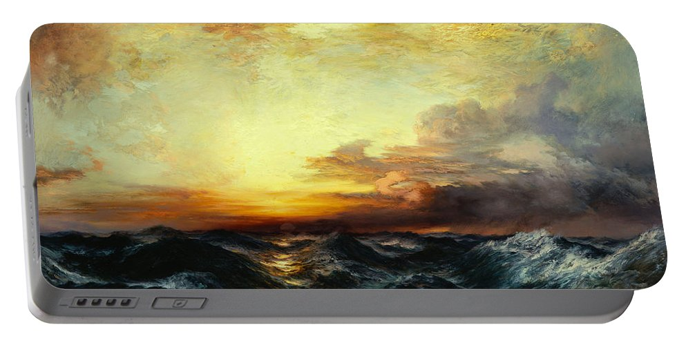 Thomas Moran Portable Battery Charger featuring the painting Pacific Sunset by Thomas Moran