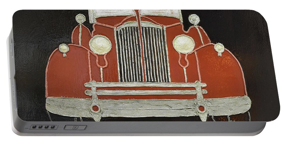 Packard 1937 Red Portable Battery Charger featuring the painting Packard 1937 Red by Christine Dekkers