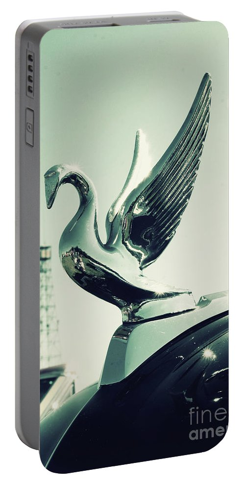 Hood Portable Battery Charger featuring the photograph Packard Swan Hood by Joel Witmeyer