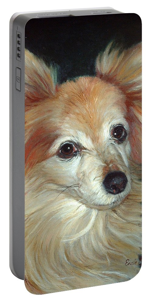 Pet Portraits Portable Battery Charger featuring the painting Paco The Papillion by Portraits By NC