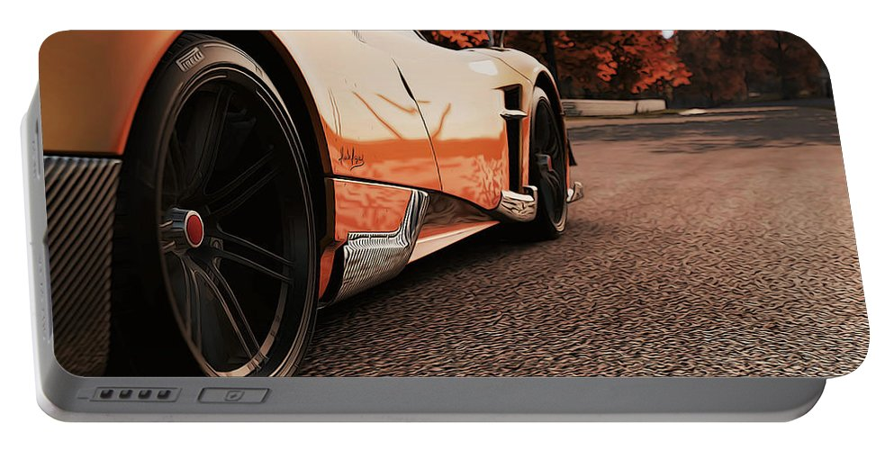 Pagani Portable Battery Charger featuring the photograph Pagani Huayra - Monza In Autumn by Andrea Mazzocchetti