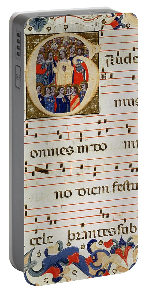 Music Portable Battery Charger featuring the painting Page Of Musical Notation With A Historiated Letter G by Italian School
