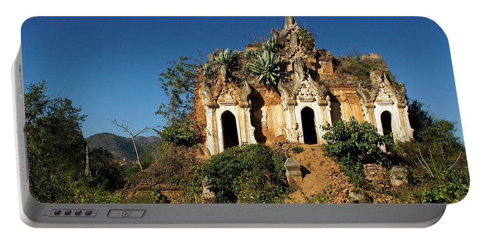 Asia Portable Battery Charger featuring the photograph Pagoda In Ruins by Michele Burgess