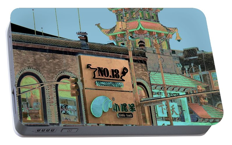 China Town Portable Battery Charger featuring the photograph Pagoda Tower Chinatown Chicago by Marianne Dow
