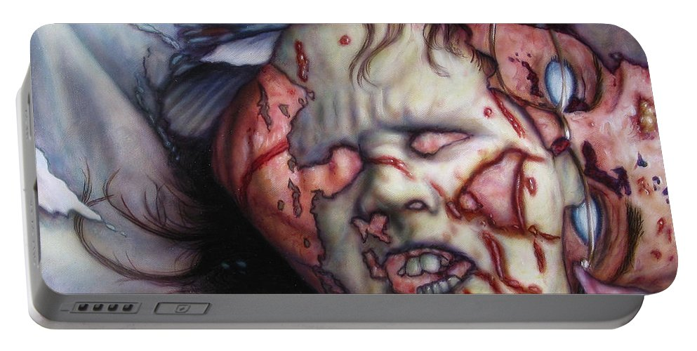 Pain Portable Battery Charger featuring the painting Pain by James W Johnson