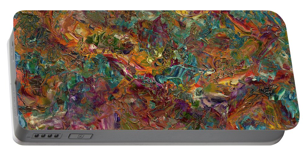 Abstract Portable Battery Charger featuring the painting Paint Number 16 by James W Johnson