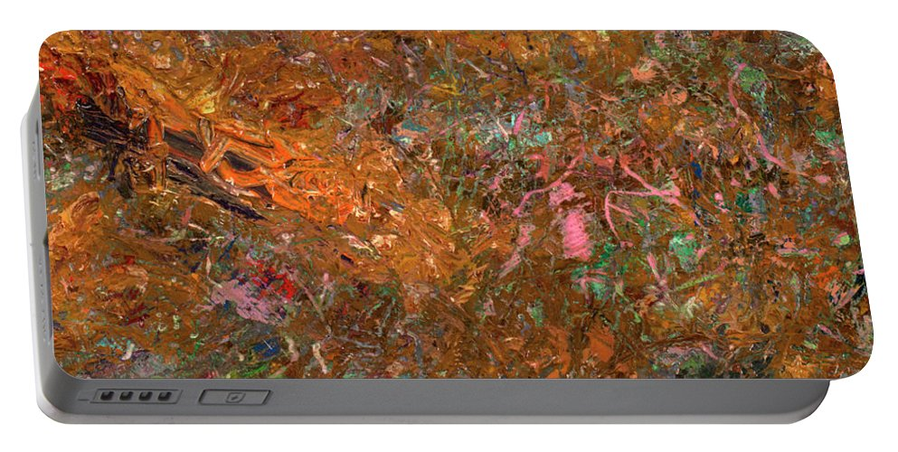Abstract Portable Battery Charger featuring the painting Paint Number 19 by James W Johnson