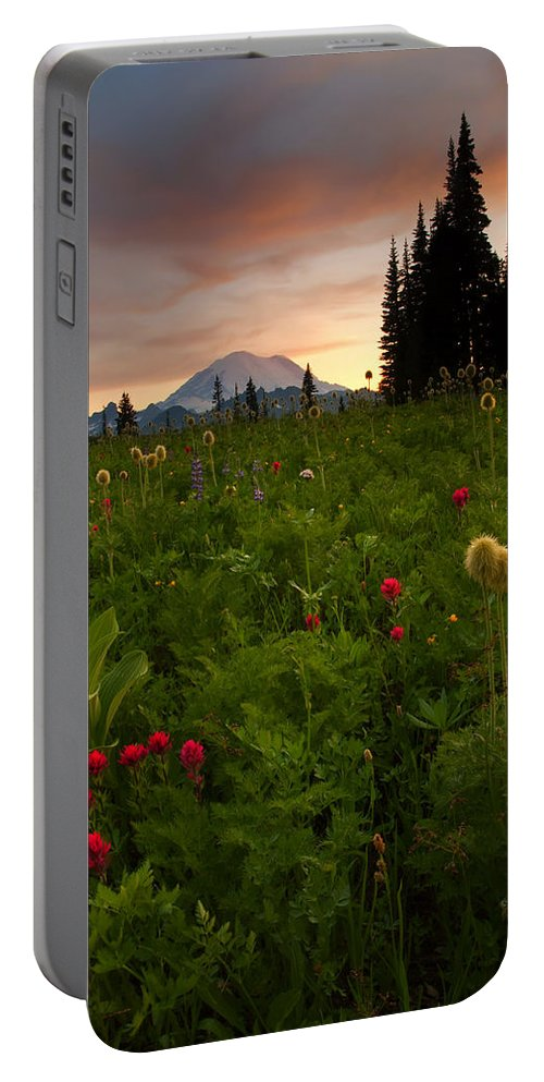 Sunset Portable Battery Charger featuring the photograph Paintbrush Sunset by Mike Dawson