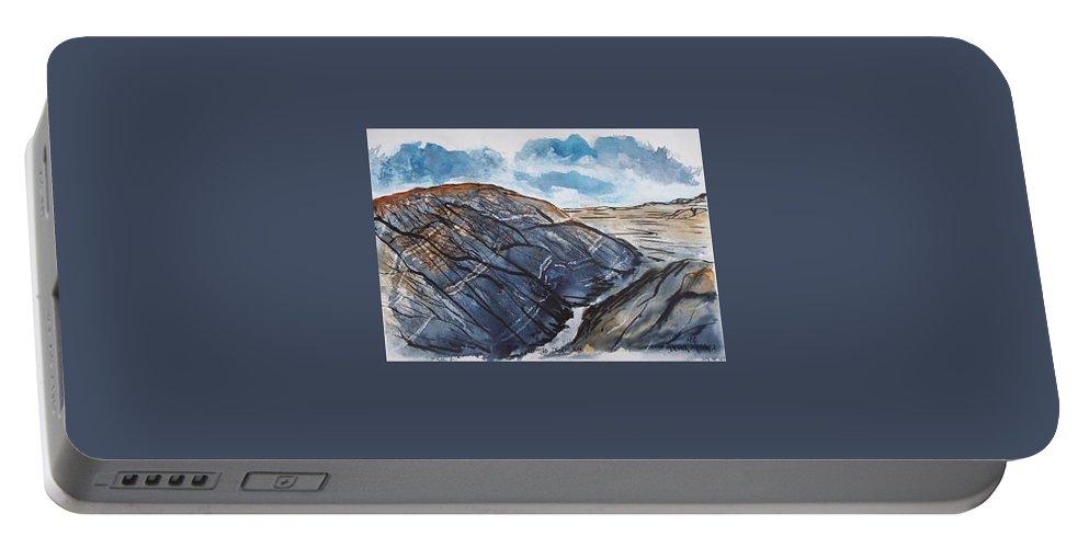 Plein Air Portable Battery Charger featuring the painting Painted Desert landscape mountain desert fine art by Derek Mccrea