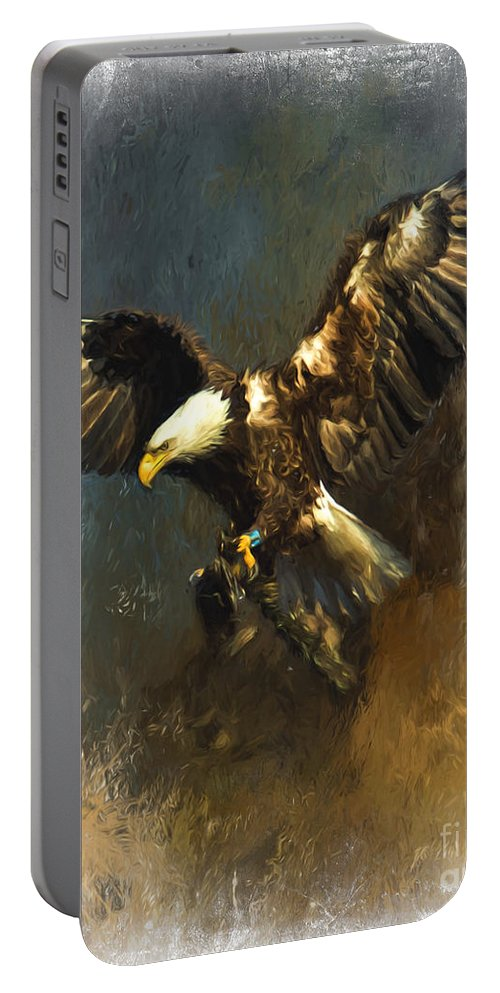 Birds Of Prey Portable Battery Charger featuring the photograph Painted Eagle by Eleanor Abramson