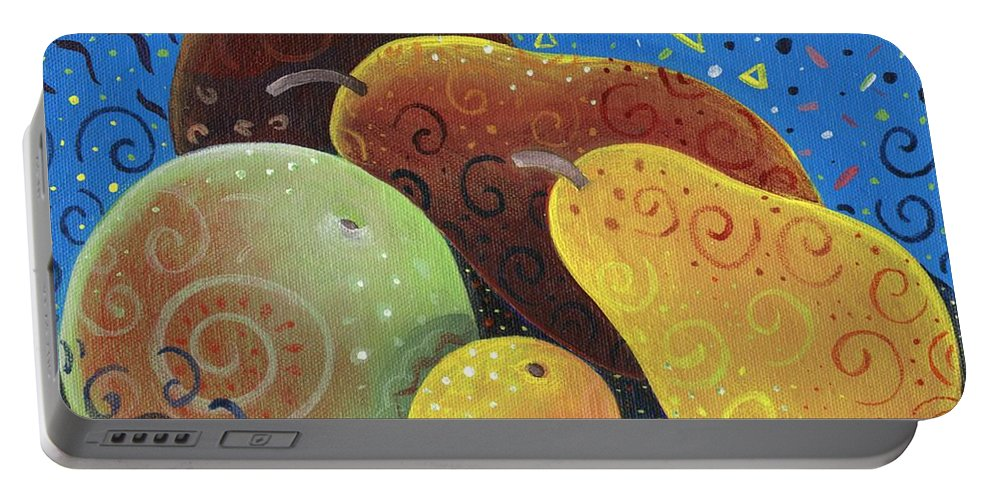 Fruit Portable Battery Charger featuring the painting Painted Fruit by Helena Tiainen