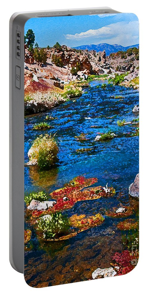 Hot Creek Portable Battery Charger featuring the photograph Painted Hot Creek Springs by Stephen Whalen