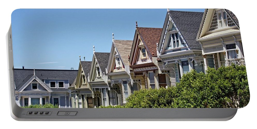San Francisco Portable Battery Charger featuring the photograph Painted Ladies by Camera Or Bust
