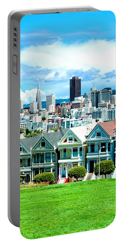 San Francisco Portable Battery Charger featuring the photograph Painted Ladies by Greg Fortier