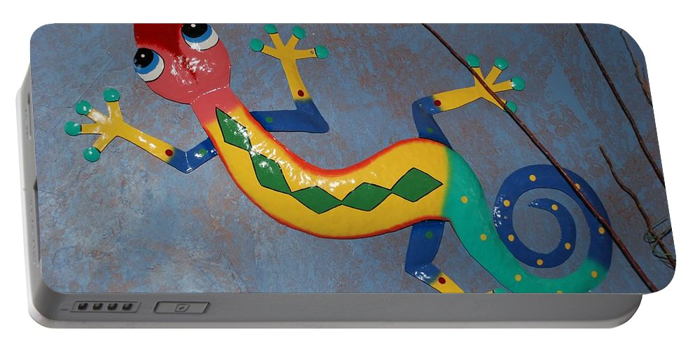 Pop Art Portable Battery Charger featuring the photograph Painted Lizard by Rob Hans