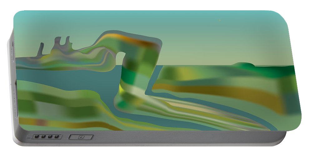 River Portable Battery Charger featuring the digital art Painted Riverland by Kevin McLaughlin