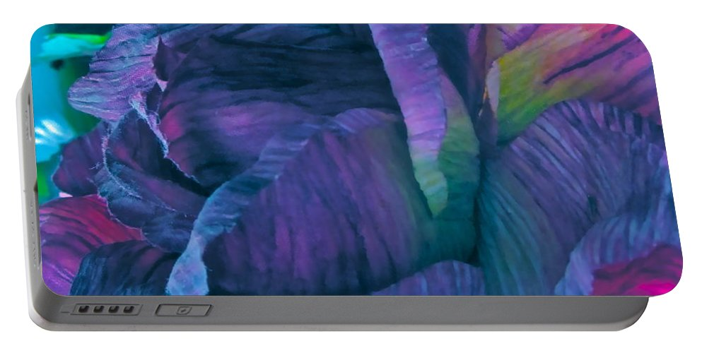 Silk Flower Portable Battery Charger featuring the digital art Painted Silk by Gwyn Newcombe