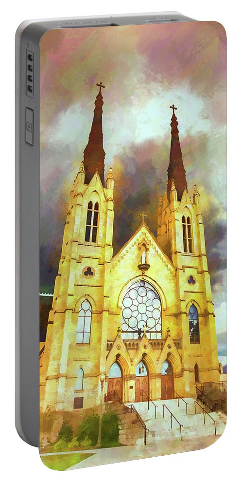 Architecture Portable Battery Charger featuring the photograph Painterly Church by Jim Love