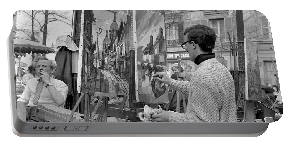 Montmartre Portable Battery Charger featuring the photograph Painters In Montmartre, Paris, 1977 by French School