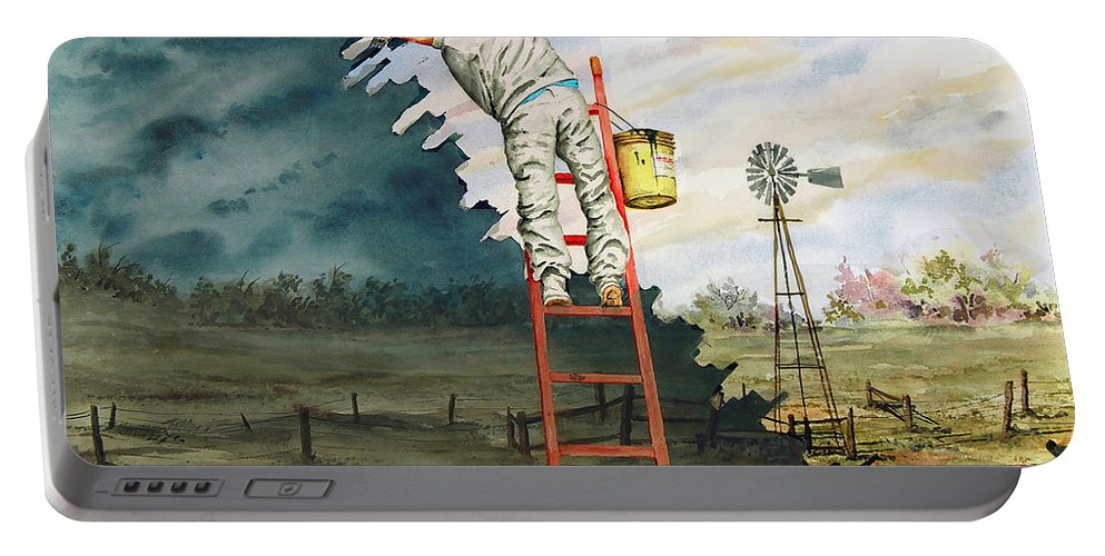 Landscape Portable Battery Charger featuring the painting Paintin Up A Storm by Sam Sidders