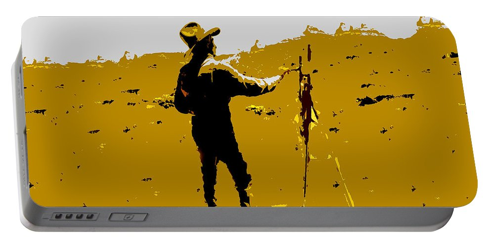 Painting Portable Battery Charger featuring the painting Painting Cowboy by David Lee Thompson