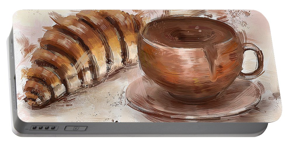 Chocolate Portable Battery Charger featuring the digital art Painting Of Chocolate Delights, Pastry And Hot Cocoa by Idan Badishi