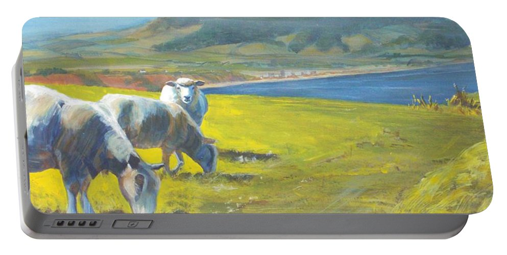 Sheep Painting Portable Battery Charger featuring the painting Painting Of Sheep On A Cliff Top by Mike Jory