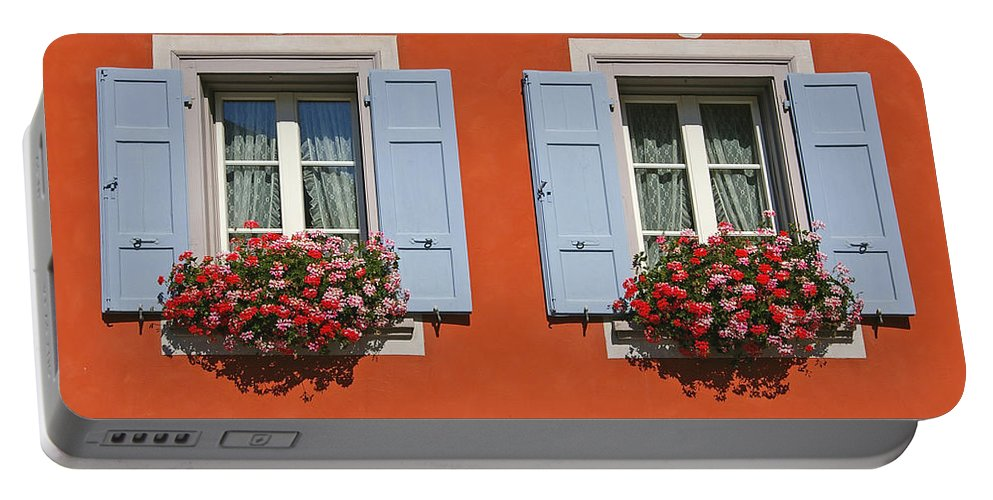Red Portable Battery Charger featuring the photograph Pair Of Blue Shutters by Tom Reynen