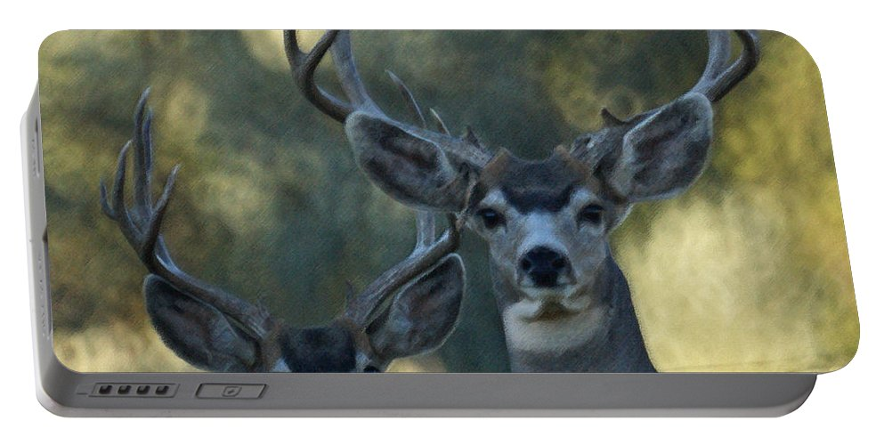 Deer Portable Battery Charger featuring the photograph Pair Of Bucks by Ernie Echols