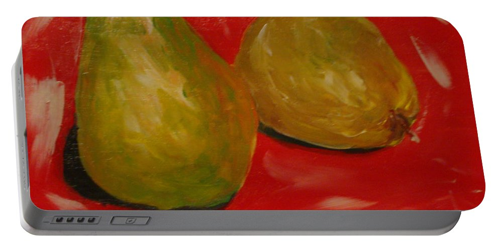 Pears Portable Battery Charger featuring the painting Pair Of Pears by Melinda Etzold