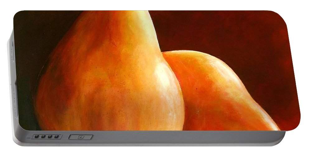 Pear Portable Battery Charger featuring the painting Pair Of Pears by Toni Grote