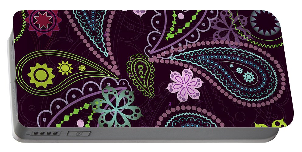 Paisley Portable Battery Charger featuring the digital art Paisley Abstract Design by Long Shot