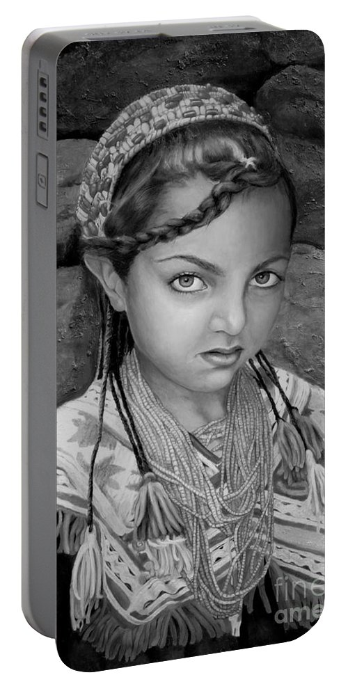 People Portraits Portable Battery Charger featuring the painting Pakistani Girl by Portraits By NC