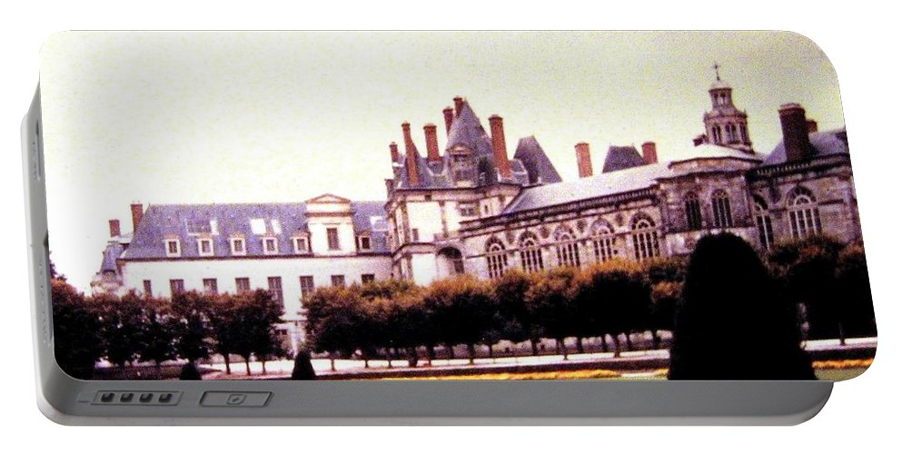1955 Portable Battery Charger featuring the photograph Palace Of Fontainebleau 1955 by Will Borden