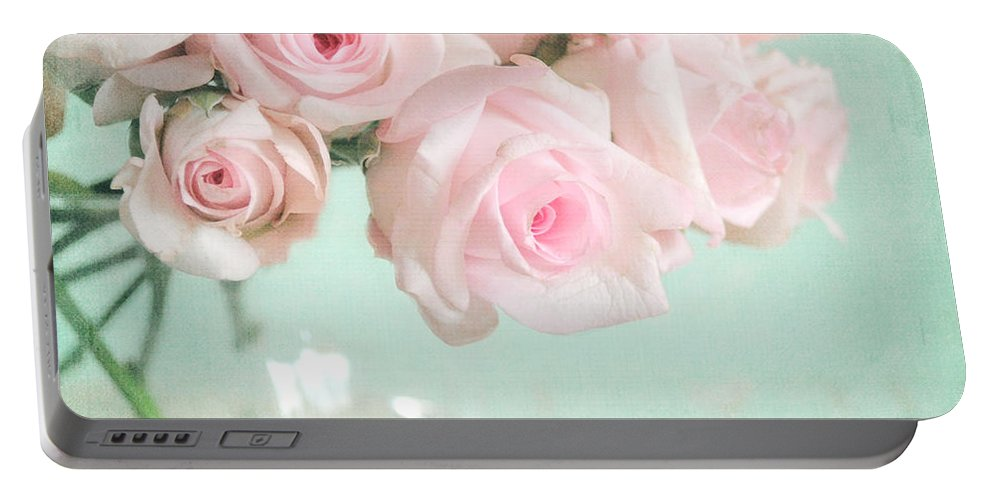 Pink Portable Battery Charger featuring the photograph Pale Pink Roses by Lyn Randle