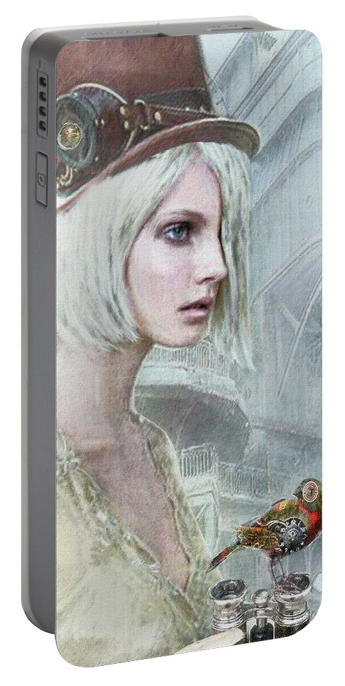 Steampunk Portable Battery Charger featuring the digital art Pale Steampunk by Jane Schnetlage
