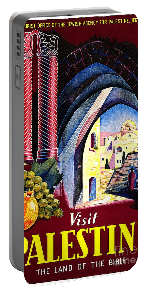 Palestine Travel Poster Portable Battery Charger featuring the painting Palestine Travel Poster by Pd