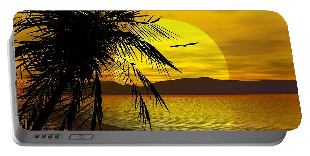 Portable Battery Charger featuring the digital art Palm Beach by Robert Orinski