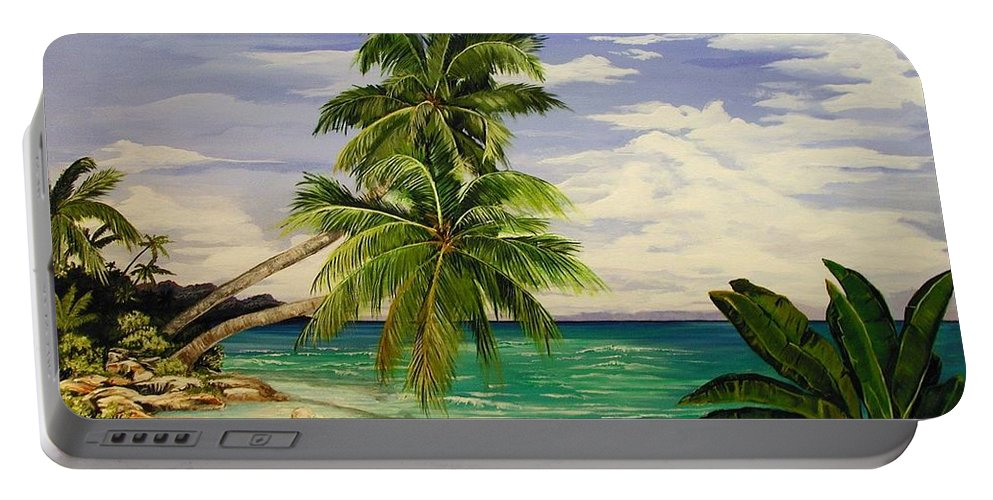 Palm Portable Battery Charger featuring the painting Palm Beach by Stephen Broussard