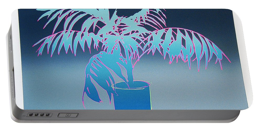Plants Portable Battery Charger featuring the mixed media Palm by Charles Stuart