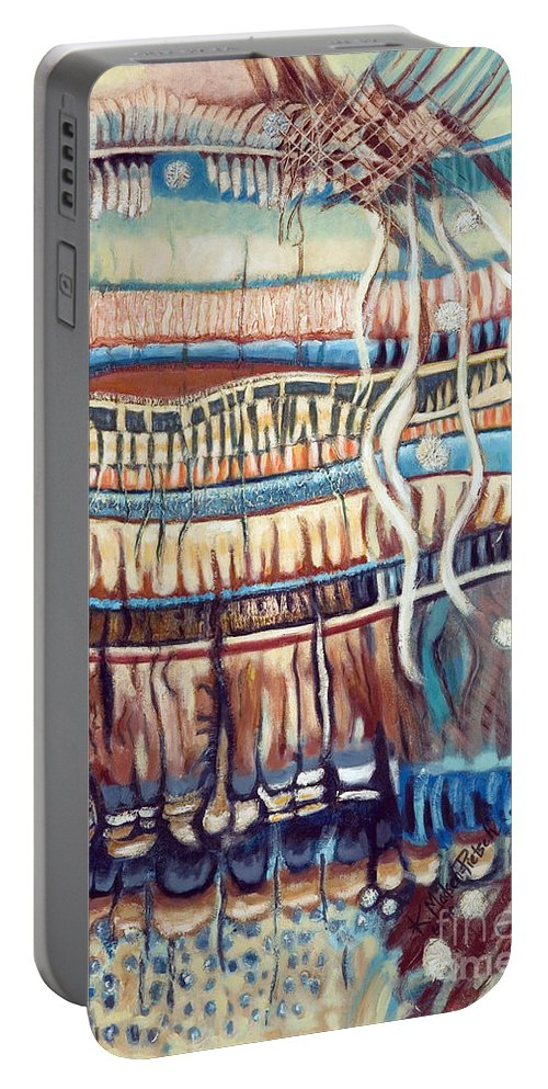 Abstract Portable Battery Charger featuring the painting Palm Contractions by Kerryn Madsen-Pietsch