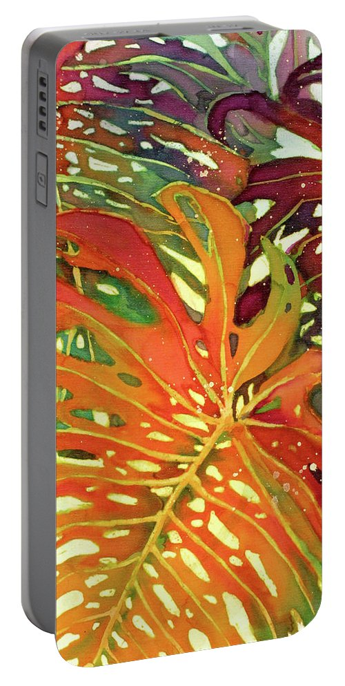 Palm Leaves Portable Battery Charger featuring the painting Palm Patterns 2 by Deborah Younglao