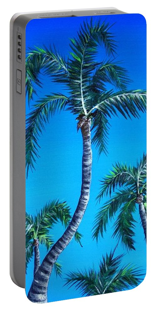 Palm Portable Battery Charger featuring the painting Palm Tops by Anastasiya Malakhova