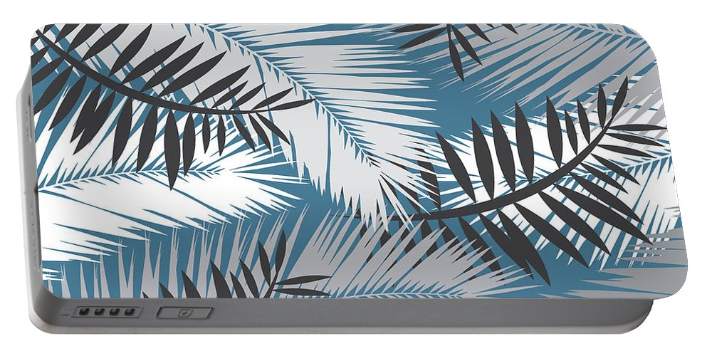 Summer Portable Battery Charger featuring the digital art Palm Trees 10 by Mark Ashkenazi