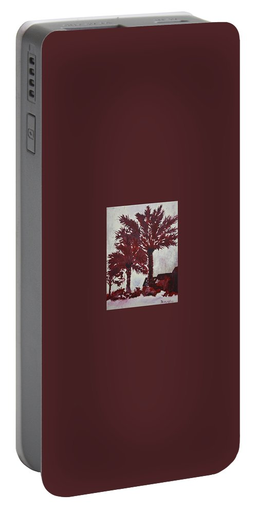Palm Trees Portable Battery Charger featuring the painting Palm Trees Acrylic Modern Art Painting by Derek Mccrea