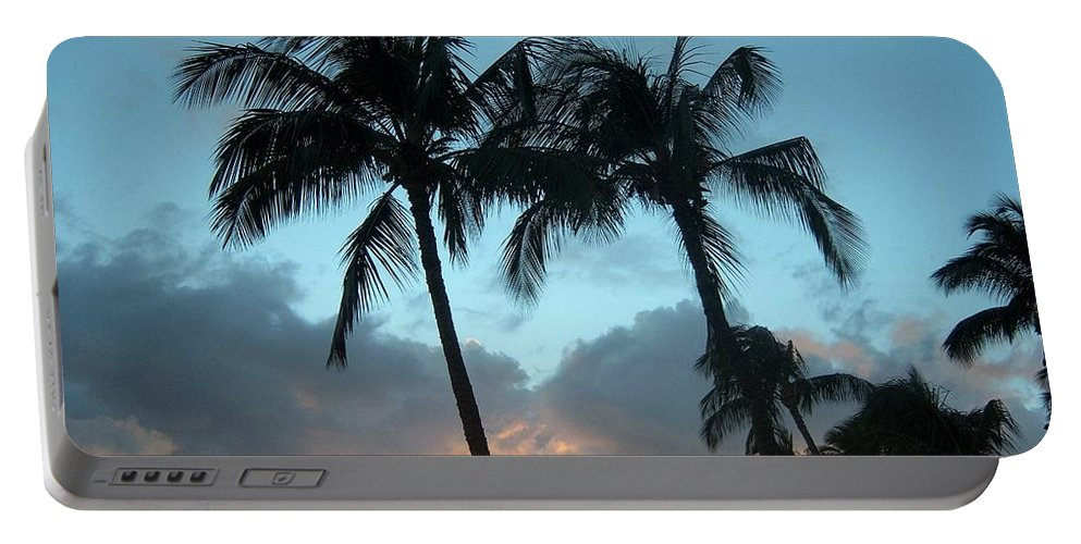 Trees Portable Battery Charger featuring the photograph Palm Trees At Sunset by Charles HALL