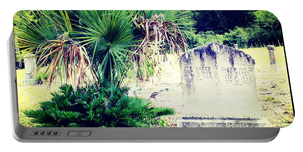 Shannon Portable Battery Charger featuring the photograph Palmetto And Head Stone by Shannon Sears