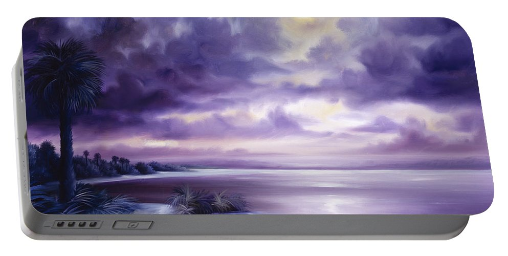 Moon Portable Battery Charger featuring the painting Palmetto Moonscape by James Christopher Hill