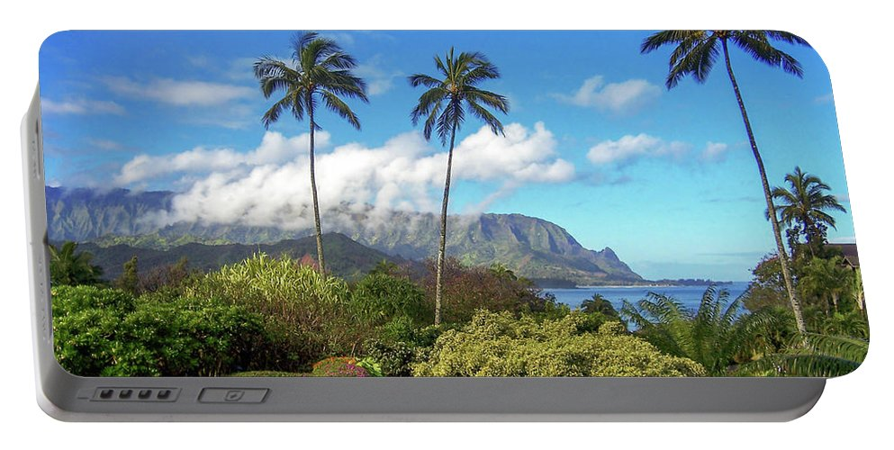 Landscape Portable Battery Charger featuring the photograph Palms At Hanalei by James Eddy