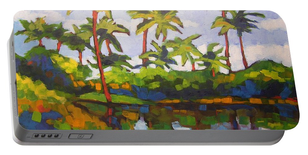 Hawaiian Portable Battery Charger featuring the painting Palms Reflections by Mary McInnis